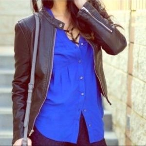 ANTHRO Maeve Islet Button Down Roayl Blue SMALL